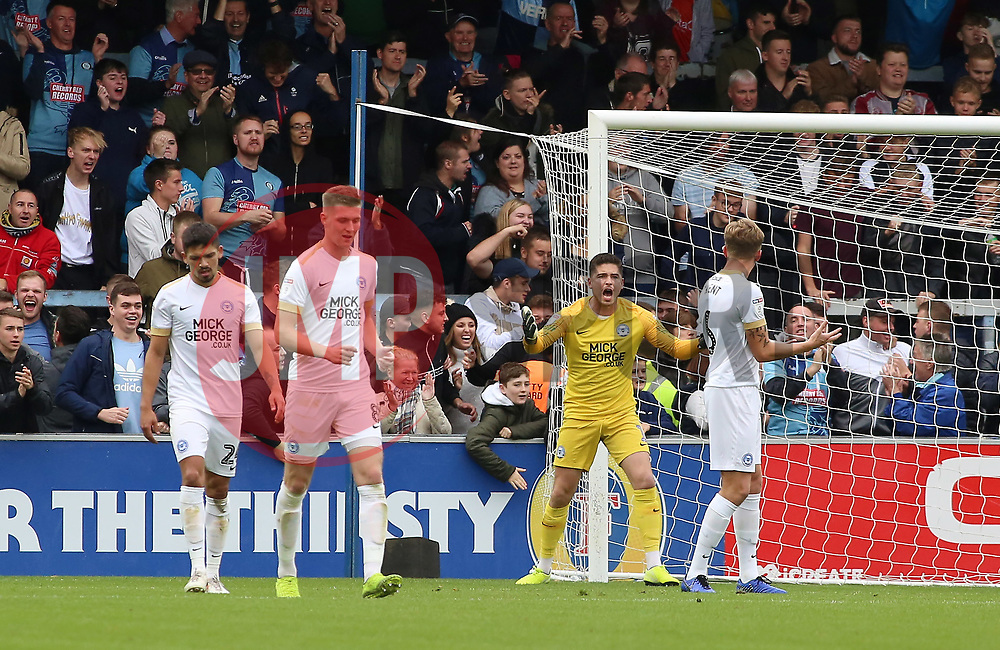 Christy Pym of Peterborough United shouts in frustration after Wycombe Wanderers score their first goal - Mandatory by-line: Joe Dent/JMP - 05/10/2019 - FOOTBALL - Adam's Park - High Wycombe, England - Wycombe Wanderers v Peterborough United - Sky Bet League One