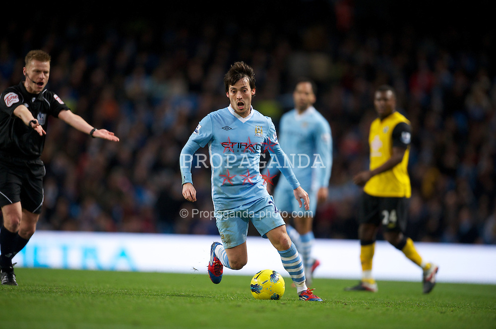 MANCHESTER, ENGLAND - Saturday, February 25, 2012: Manchester City's David Silva in action against Blackburn Rovers during the Premiership match at City of Manchester Stadium. (Pic by David Rawcliffe/Propaganda)