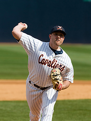 Virginia Cavaliers RHP Jake Rule (32) pitched in relief against Boston College.  The #19 ranked Virginia Cavaliers baseball team defeated the Boston College Golden Eagles 5-4 in 10 innings at the University of Virginia's Davenport Field in Charlottesville, VA on March 22, 2008.