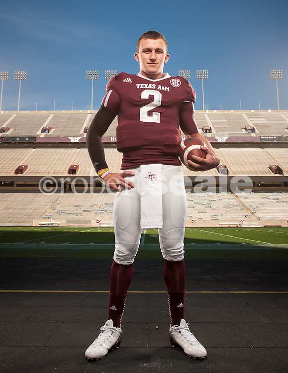 """Texas A&M quarterback and Heisman Trophy frontrunner Johnny Manziel, known to college football fans as """"Johnny Football"""" photographed at Kyle Field in College Station, Texas on November 29, 2012.  © 2012 Robert Seale"""