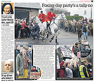 Belvoir Hunt Protesters - Daily Mirror 27th Dec 2018