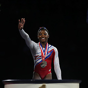 Simone Biles, Spring, Texas, (right), on the podium after winning the All-Round title during the Senior Women Competition at The 2013 P&G Gymnastics Championships, USA Gymnastics' National Championships at the XL, Centre, Hartford, Connecticut, USA. 17th August 2013. Photo Tim Clayton