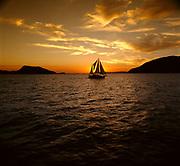 Sailing Boat at Sunset off Port Stephens, NSW, Australia