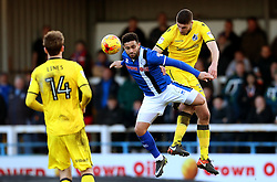 Ryan Sweeney of Bristol Rovers wins a header above Reuben Noble-Lazarus of Rochdale - Mandatory by-line: Matt McNulty/JMP - 04/02/2017 - FOOTBALL - Crown Oil Arena - Rochdale, England - Rochdale v Bristol Rovers - Sky Bet League One