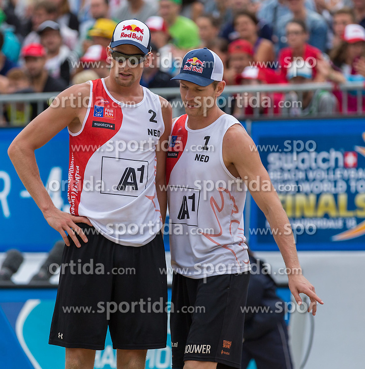 02.08.2015, Strandbad, Klagenfurt, AUT, A1 Beachvolleyball EM 2015, kleines Finale Herren, im Bild Alexander Brouwer 1 NED / Robert Meeuwsen 2 NED // during 3rd Place Match Men, of the A1 Beachvolleyball European Championship at the Strandbad Klagenfurt, Austria on 2015/08/02. EXPA Pictures © 2015, EXPA Pictures © 2015, PhotoCredit: EXPA/ Mag. Gert Steinthaler