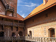 Interior courtyard view of the main castle of Trakai Castle, one of LIthuania's most famous historical landmarks.