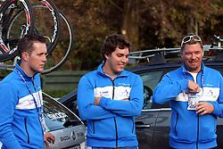 Bostjan Kavcnik, Marko Dzalo and Igor Bertoncelj during the Women´s Elite Road Race on day five of the UCI Road World Championships on September 24, 2011 in Copenhagen, Denmark. (Photo by Marjan Kelner / Sportida Photo Agency)