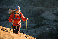 Young woman hiking near Truckee, CA.