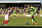 Forest Green Rovers Tahvon Campbell(14) runs forward during the EFL Sky Bet League 2 match between Forest Green Rovers and Cheltenham Town at the New Lawn, Forest Green, United Kingdom on 20 October 2018.