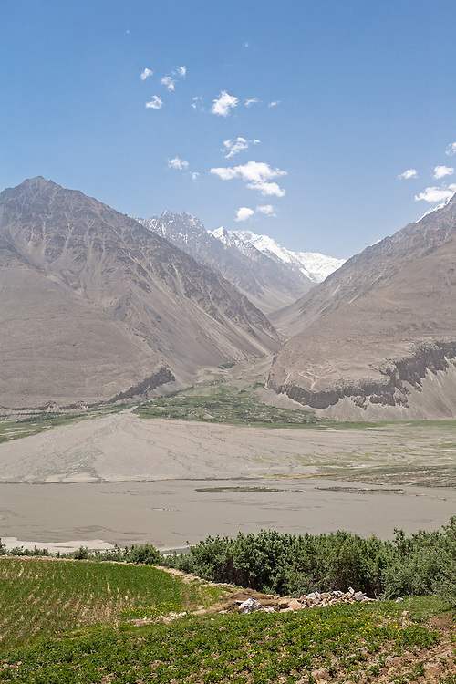 View across Wakhan Valley to Afghanistan and Hindu Kush of Pakistan