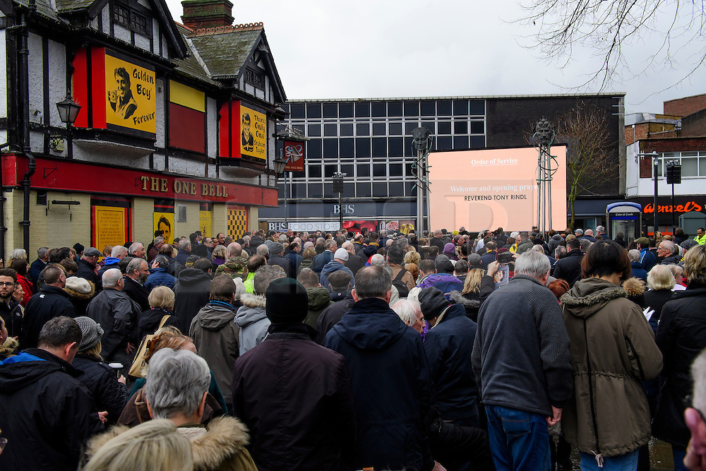 © Licensed to London News Pictures. 01/02/2017. Watford, UK. Mourners and football fans line the streets outside the church to listen to the funeral service of former England football team manager Graham Taylor at St Mary's Church in Watford, Hertfordshire. The former England, Watford and Aston Villa manager,  who later went on to be chairman of Watford Football Club, died at the age of 72 from a suspected heart attack. Photo credit: Ben Cawthra/LNP