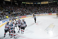 KELOWNA, CANADA - MAY 11: The Kelowna Rockets celebrate a goal against the Brandon Wheat Kings on May 11, 2015 during game 3 of the WHL final series at Prospera Place in Kelowna, British Columbia, Canada.  (Photo by Marissa Baecker/Shoot the Breeze)  *** Local Caption ***