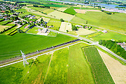 Nederland, Gelderland, Angeren, 09-06-2016; Boerenhoek, tunnel van de Betuweroute onder Pannerdens kanaal. Pannerdensch kanaal (Neder-Rijn) aan de horizon.<br /> Tunnel Betuweroute, freight railway, Pannerdensch channel (Lower Rhine) on the horizon.<br /> <br /> luchtfoto (toeslag op standard tarieven);<br /> aerial photo (additional fee required);<br /> copyright foto/photo Siebe Swart