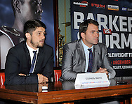 Picture by Alan Stanford/Focus Images Ltd +44 7915 056117<br /> 10/10/2013<br /> Promoter Eddie Hearn and Stephen Smith pictured during a press conference at Trinity House, London.