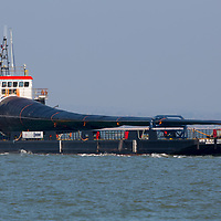 Wind turbine blade, ship, Blade Runner, crossing, The Solent, Cowes, Isle of Wight, England, UK,