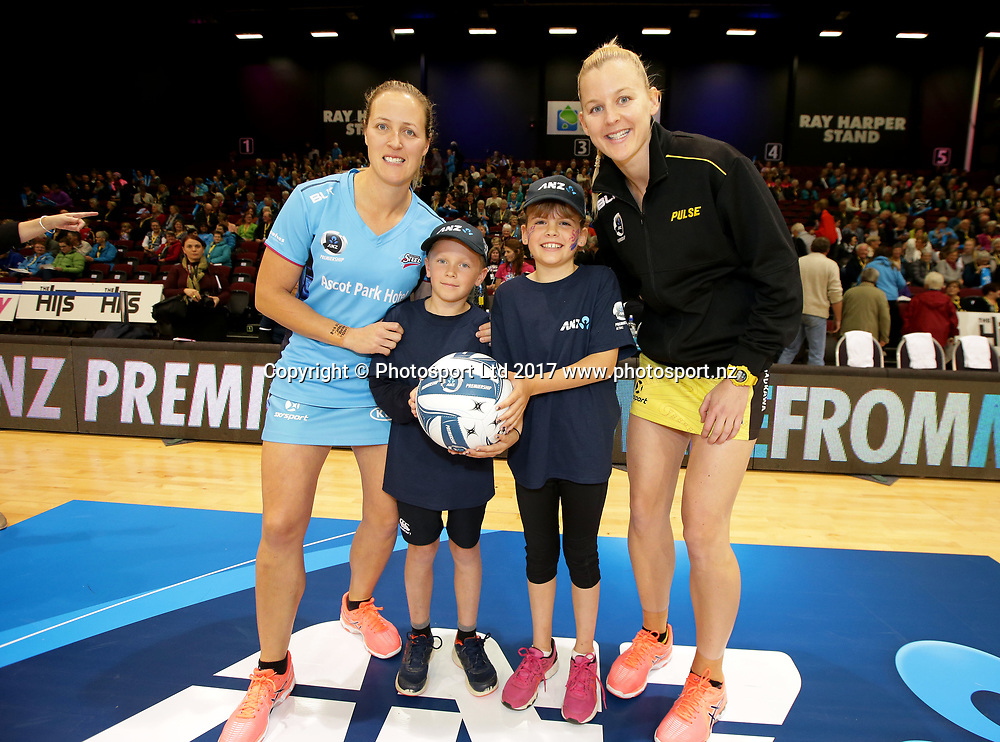 Future captains ahead of the ANZ Championship netball game between Southern Steel v's Central Pulse, played at Stadium Southland, Invercargill, on Monday night, 1 May 2017. From left,  Steel captain Wendy Frew, Noah Lucy, 10, Grace Warren, 9, and Pulse captain Katrina Grant.