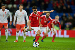 CARDIFF, WALES - Friday, November 13, 2015: Wales' Joe Allen sees his penalty kick saved against the Netherlands during the International Friendly match at the Cardiff City Stadium. (Pic by David Rawcliffe/Propaganda)