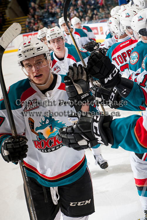 KELOWNA, CANADA - MARCH 1: Calvin Thurkauf #27 of the Kelowna Rockets celebrates a second period goal against the Prince George Cougars on MARCH 1, 2017 at Prospera Place in Kelowna, British Columbia, Canada.  (Photo by Marissa Baecker/Shoot the Breeze)  *** Local Caption ***