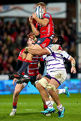 Sione Kalamafoni of Leicester Tigers tackles Tom Hudson of Gloucester Rugby in the air - Mandatory by-line: Robbie Stephenson/JMP - 16/11/2018 - RUGBY - Kingsholm - Gloucester, England - Gloucester Rugby v Leicester Tigers - Gallagher Premiership Rugby