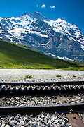 Rack railway for Jungfraubahn funicular train from Kleine Scheidegg to Jungfrau peak in Swiss Alps Bernese Oberland, Switzerland