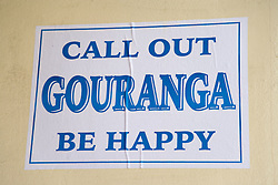 Poster saying Call out Gouranga be happy,