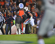 Auburn tight end Philip Lutzenkirchen (43) scores a touchdown as Ole Miss' Frank Crawford (5) defends at Jordan-Hare Stadium in Auburn, Ala. on Saturday, October 29, 2011. .