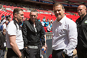 Forest Green Rovers assistant manager, Scott Lindsey, Forest Green Rovers Chairman Dale Vince, Forest Green Rovers manager, Mark Cooper during the Vanarama National League Play Off Final match between Tranmere Rovers and Forest Green Rovers at Wembley Stadium, London, England on 14 May 2017. Photo by Shane Healey.