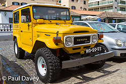 A beautifully restored Toyota Landcruiser in Machico. Apparently these vehicles were issued to bank managers who had to visit difficult-to access farms among the mountains of Madeira. MADEIRA, September 25 2018. © Paul Davey