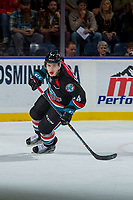 KELOWNA, CANADA - OCTOBER 20: Kyle Topping #24 of the Kelowna Rockets skates against the Portland Winterhawks on October 20, 2017 at Prospera Place in Kelowna, British Columbia, Canada.  (Photo by Marissa Baecker/Shoot the Breeze)  *** Local Caption ***
