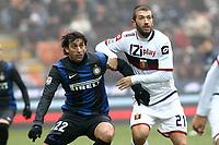 """Diego Milito Inter Michele Canini Genoa.Milano 22/12/2012 Stadio """"S.Siro"""".Football Calcio Serie A 2012/13.Inter v Genoa.Foto Insidefoto Paolo Nucci."""