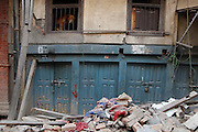 KATHMANDU, NEPAL - APRIL 26: (CHINA OUT)<br /> <br /> Houses and buildings collapse due to earthquake on April 26, 2105 in Kathmandu, Nepal. A 8.1-magnitude earthquake struck Nepal on Saturday and the earthquake felt in southeast China\'s Tibet Autonomous Region which brought some houses into collapse. While another 7.1-magnitude earthquake hit the county again the following day afternoon. Chinese government sent out Sichuan Rescue Team, the only one national emergency medical rescue team who could settle camps above an altitude of 3500 meters, to Nepal to support local rescue work and international assistance were also sent to the disaster areas. The earthquake had caused at least 3218 people to death and parts of Chinese visitors were detained in Nepal by Monday morning. <br /> ©Exclusivepix Media