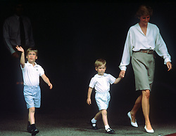 Diana, The Princess of Wales with sons Prince William (left) and Prince Harry leaving Portland Hospital in London after visiting The Duchess of York when she gave birth to her first child, a daughter.