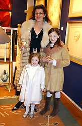MRS CHRISTOPHER GILMOUR and her daughters Left, CHRISTABEL and right, GABRIELLA at an exhibition of portraits by Charmian Campbell held at Lucy B Campbell Fine Art, 123 Kensington Church Street, London W8 on 8th February 2005.<br /><br />NON EXCLUSIVE - WORLD RIGHTS