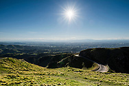 View from Te Mata peak, looking north over Havelock Northand Hastings with Napier in far distance. Hawkes Bay. New Zealand