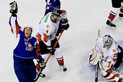 Tomaz Razingar of Slovenia celebrates second slovenian goal at IIHF Ice-hockey World Championships Division I Group B match between National teams of Hungary and Slovenia, on April 23, 2010, in Tivoli hall, Ljubljana, Slovenia. (Photo by Matic Klansek Velej / Sportida)