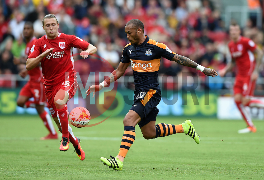 Luke Freeman of Bristol City tackles Yoan Gouffran of Newcastle United  - Mandatory by-line: Joe Meredith/JMP - 20/08/2016 - FOOTBALL - Ashton Gate - Bristol, England - Bristol City v Newcastle United - Sky Bet Championship