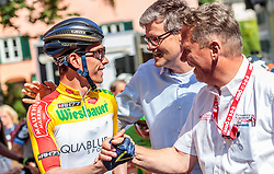 07.07.2017, St. Johann Alpendorf, AUT, Ö-Tour, Österreich Radrundfahrt 2017, 5. Kitzbühel - St. Johann/Alpendorf (212,5 km), im Bild Stefan Denifl (AUT, Aqua Blue Sport), Bgm. Kitzbühel Dr. Klaus Winkler und Franz Steinberger (Oe-Tour Direktor) // Stefan Denifl (AUT Aqua Blue Sport) Major of Kitzbühel Dr. Klaus Winkler und Franz Steinberger (Oe-Tour Director) during the 5th stage from Kitzbuehel - St. Johann/Alpendorf (212,5 km) of 2017 Tour of Austria. St. Johann Alpendorf, Austria on 2017/07/07. EXPA Pictures © 2017, PhotoCredit: EXPA/ JFK