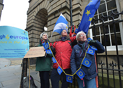 Pictured: Protesters outside Court after the decision.<br /> <br /> Lord Peatland, sitting in the Court of Session, today rejected a bid by campaigners including SNP MP Joanna Cherry and others to force Prime Minister Boris Johnson to abide by the so called 'Benn Bill' and seek an extension to the October 31st Brexit date.<br /> <br /> © Dave Johnston / EEm
