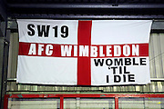 Womble till I die flag during the EFL Sky Bet League 1 match between AFC Wimbledon and Coventry City at the Cherry Red Records Stadium, Kingston, England on 14 February 2017. Photo by Matthew Redman.