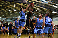 01/04/2017 Premier League Round 1: Sturt Sabres vs Southern Tigers at Pasadena.  Sturts Jacob Rigoni blocks Tigers Michael Nwelue. Photos By AllStar PHotos.