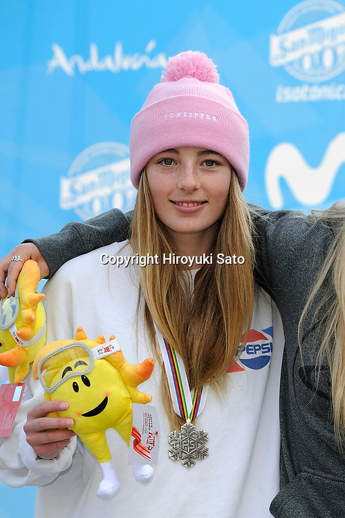 Zoi Sadowski Synnott (NZL), MARCH 11, 2017 - Snowboarding : Silver medalist Zoi Sadowski Synnott of New Zealand poses with her medal during the medal ceremony for the 2017 FIS Snowboard World Championships Women's Slopestyle in Sierra Nevada, Spain. (Photo by Hiroyuki Sato/AFLO)