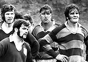 Colin Meads (centre) with new All Black Graham Whiting (right), lock Dave Oliver (front left) and hooker Jack McGlashan (front left). King Country v Wairarapa-Bush on 26 August 1972 at Taumarunui.<br />