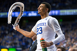 Kentucky guard Jamal Murray cheers for his teammates in the second half.<br /> <br /> The University of Kentucky hosted the University of Georgia, Tuesday, Feb. 09, 2016 at Rupp Arena in Lexington .