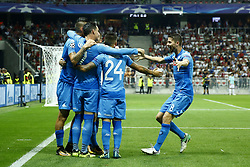 August 22, 2017 - Nice, France - Napoli's Spanish striker Jose Maria Callejon (C) celebrates with teammates after scoring a goal during the UEFA Champions League play-off football match between Nice and Napoli at the Allianz Riviera stadium in Nice, southeastern France, on August 22, 2017. (Credit Image: © Matteo Ciambelli/NurPhoto via ZUMA Press)