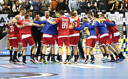 14.01.2019, Mercedes Benz Arena, Berlin, GER, IHF WM U18, Russland vs Deutschland, Herren, Gruppe A, im Bild Jubel beim Team Russland // during the men's IHF World Championships groub A match between Russia and Germany at the Mercedes Benz Arena in Berlin, Germany on 2019/01/14. EXPA Pictures © 2019, PhotoCredit: EXPA/ Eibner-Pressefoto/ Andreas Gora<br /> <br /> *****ATTENTION - OUT of GER*****