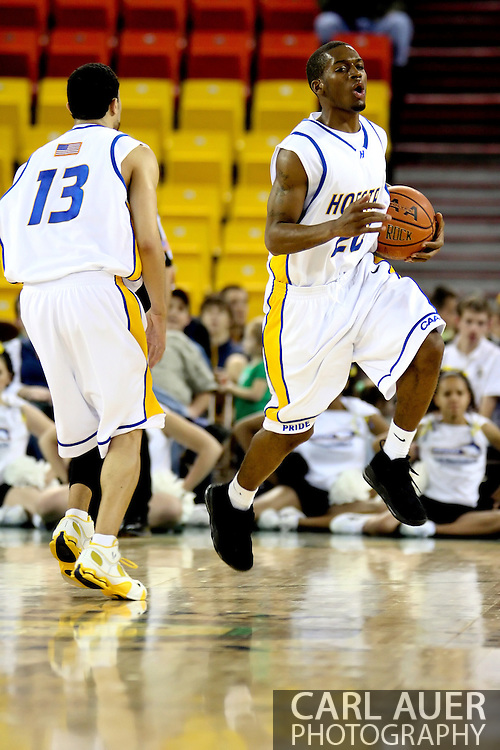 11/23/2006 - Anchorage, Alaska: Sophomore guard Greg Johnson (20) of the Hofstra Pride reacts to a foul call in the Hawaii victory over Hofstra 80-79 at the 2006 Great Alaska Shootout on Thanksgiving night<br />