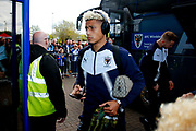 AFC Wimbledon forward Lyle Taylor (33) arrives during the EFL Sky Bet League 1 match between Wigan Athletic and AFC Wimbledon at the DW Stadium, Wigan, England on 28 April 2018. Picture by Simon Davies.