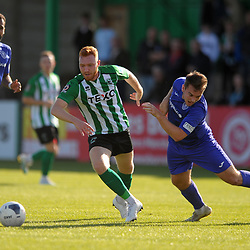 TELFORD COPYRIGHT MIKE SHERIDAN Lewis Ritson of Blyth battles for the ball with Lewis Reilly of Telford (on loan from Crewe Alexandra) during the National League North fixture between Blyth Spartans and AFC Telford United at Croft Park on Saturday, September 28, 2019<br /> <br /> Picture credit: Mike Sheridan<br /> <br /> MS201920-023