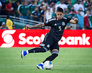 Mexico defender Carlos Salcedo (3) in  action during a CONCACAF Gold Cup soccer match in Pasadena, Calif., Saturday, June 15, 2019. Mexico defeated Cuba 7-0. (Ed Ruvalcaba/Image of Sport)