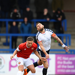 TELFORD COPYRIGHT MIKE SHERIDAN 9/3/2019 - Theo Streete of AFC Telford and Kurt Willoghby during the National League North fixture between AFC Telford United and FC United of Manchester (FCUM) at the New Bucks Head Stadium